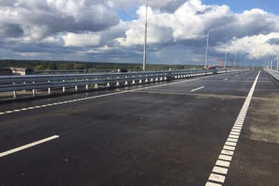 Open traffic on the bridge over the Berezina River.